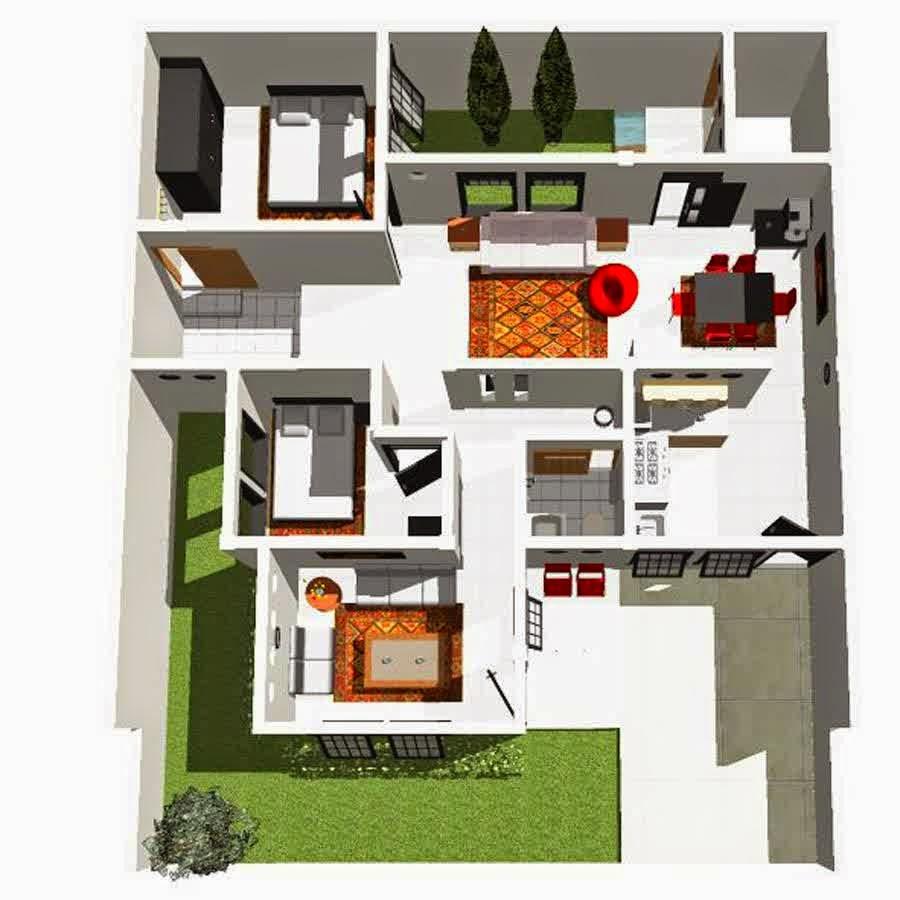 Aneka Denah Rumah Minimalis 1 Lantai Terbaik   Desain ...