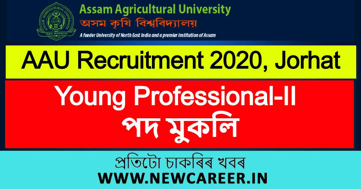 AAU Recruitment 2020, Jorhat : Apply For Young Professional-II Vacancy