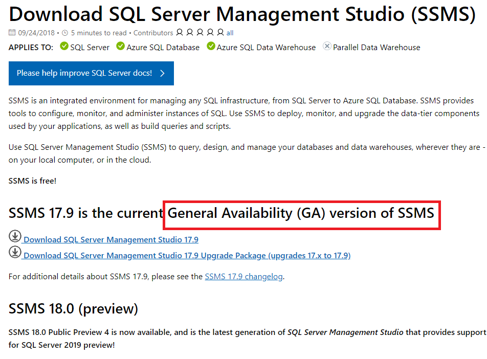 sql server 2019 management studio