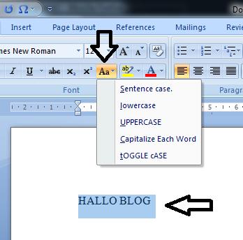 Change Case berfungsi mengubah huruf besar menjadi kecil pada microsoft word