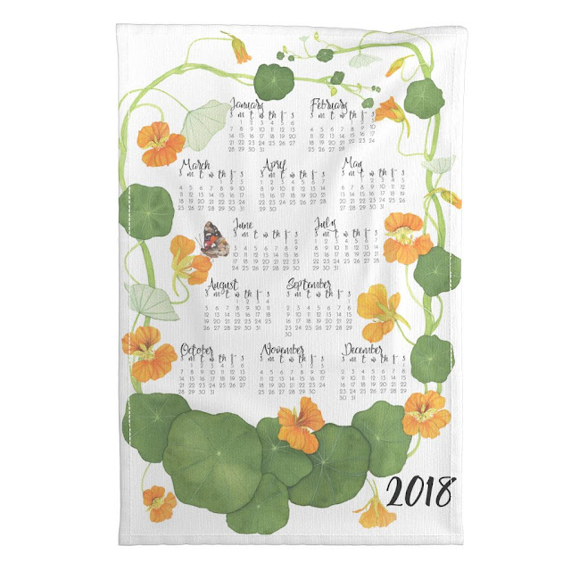 tea towel calendar, nasturtiums, watercolors, botanical watercolors, Anne Butera, My Giant Strawberry, Spoonflower