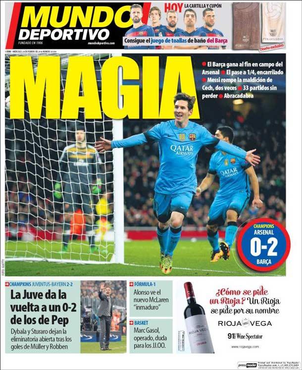 Portada del periódico Mundo Deportivo, miércoles 24 de febrero de 2016