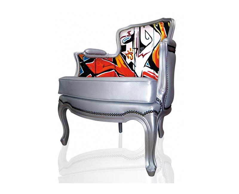 graffiti printed armchair