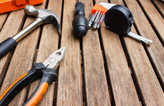 tools on wooden decking