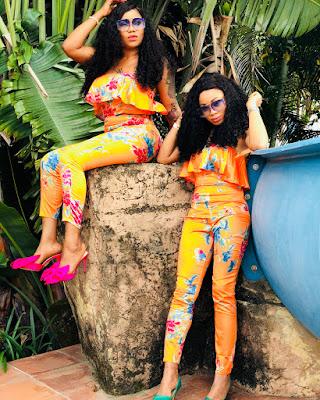 #BBNaija's NinaIvy and mentor Toyin Lawani step out on matching outfits.
