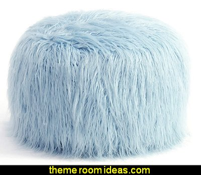 Faux Fur Ottoman Foot Rest faux fur decor decorating faux fur home decor fuzzy decor