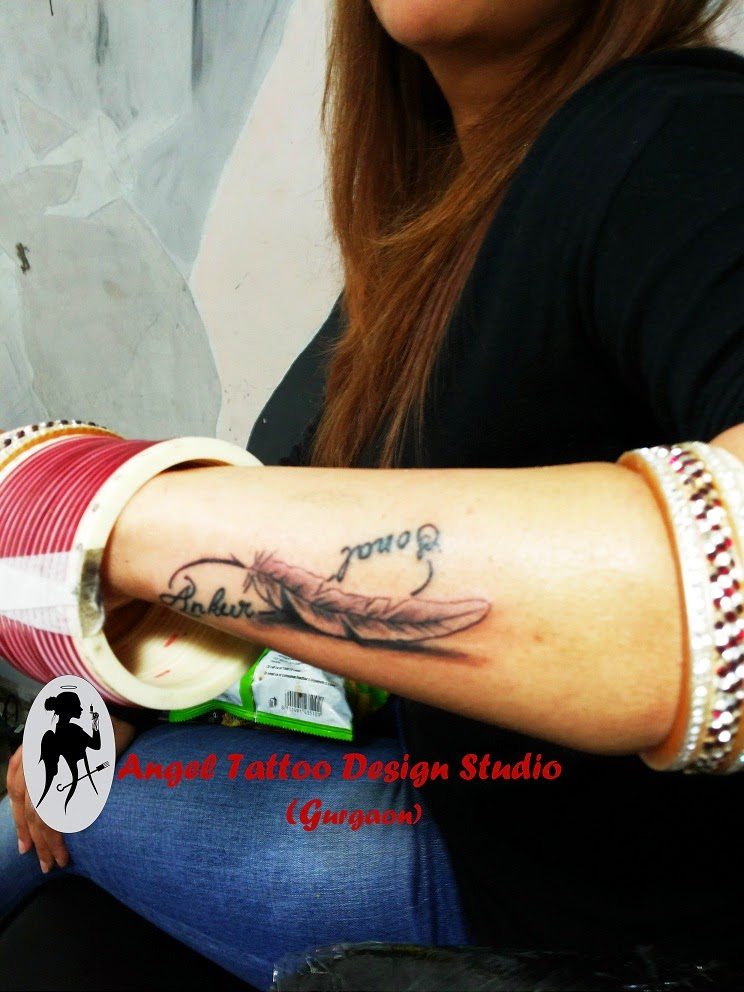 Infinity with Feather Tattoo Designs