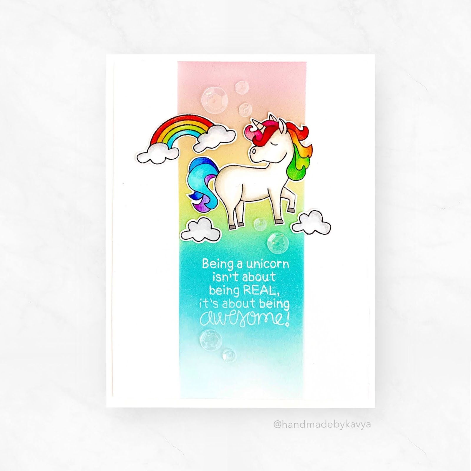 Being a Unicorn Card by September Guest Designer Kavya Nagalakunta | Believe in Unicorns Stamp Set by Newton's Nook Designs #newtonsnook #handmade