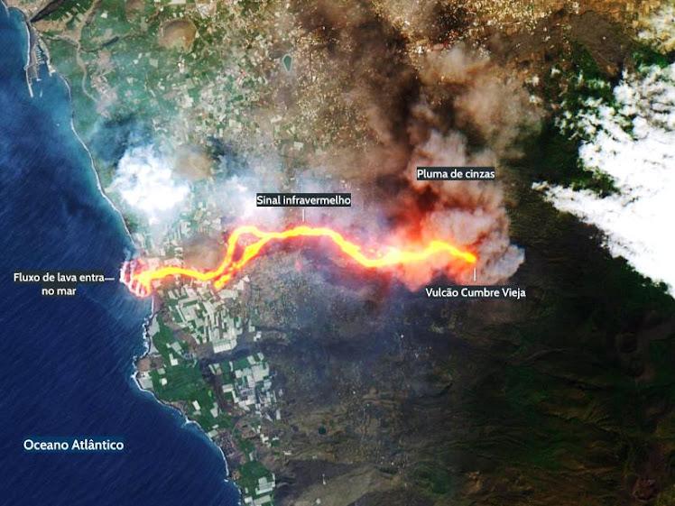 La Palma: erupção do vulcão Cumbre Vieja forma 'delta de lava'