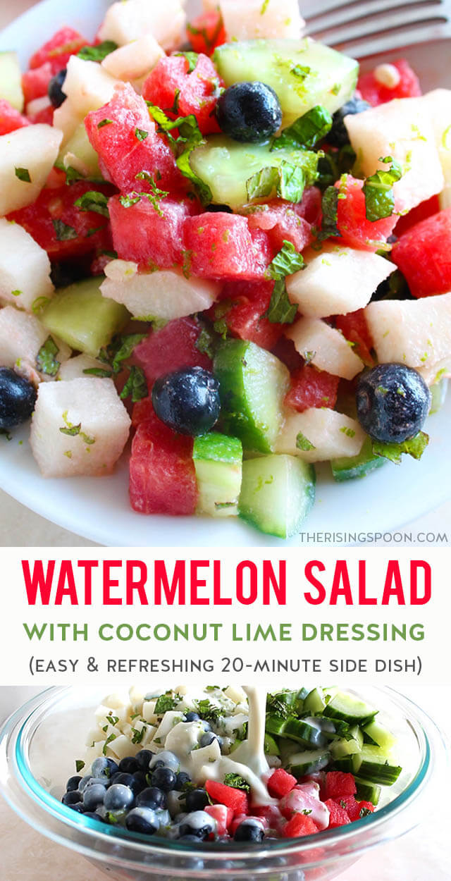 This easy summer salad is full of hydrating foods like watermelon, cucumber, jicama & blueberries + fresh mint and is topped with a simple (yet addicting) coconut lime dressing. Every bite is refreshing, crunchy, creamy, and slightly sweet + tangy! Prep it in 20 minutes & serve it as a quick side dish with your favorite meal. Bring it to a potluck, backyard cookout, holiday get-together, picnic, or camping trip and you'll be a big hit. {gluten-free, grain-free & vegan}