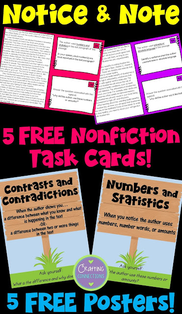 FREE Notice and Note Nonfiction Posters and Task Cards! This blog post includes resources and passages to supplement the strategies outlined in the book Reading Nonfiction: Notice and Note by Beers and Probst.