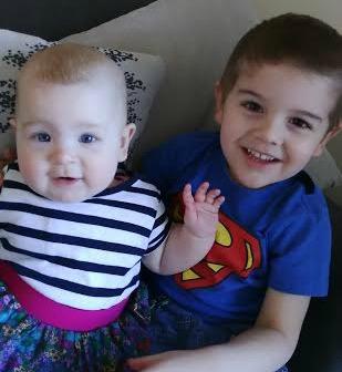 Siblings Jack and Isla in February