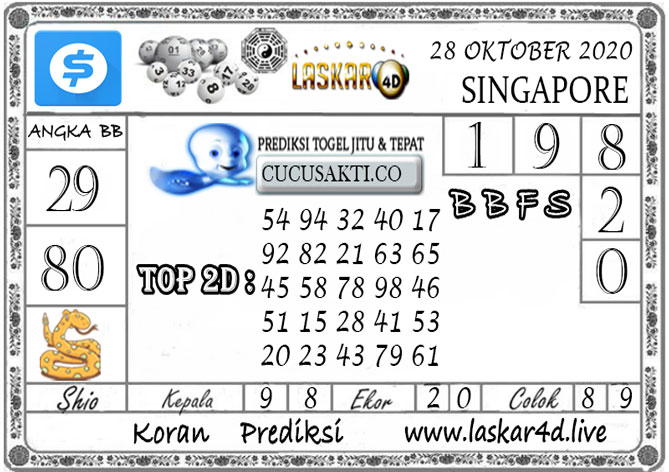 Prediksi Togel SINGAPORE LASKAR4D 28 OKTOBER 2020