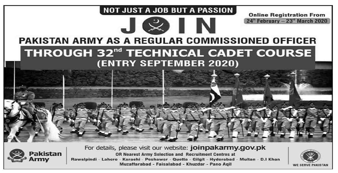 Join Pakistan Army Jobs 2020 as Officer 32 Technical Cadet Course TCC