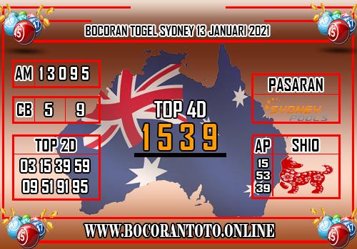 Bocoran Sydney 13 Januari 2021