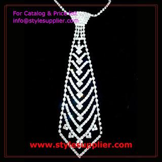 rhinestone necktie necklaces