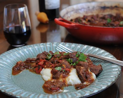 Spanish Stew with Roasted Pepper (Chilindron) ♥ KitchenParade.com, a wine-enriched stew, dark and somehow mysterious with roasted red peppers.