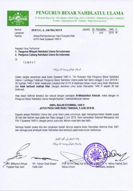 PBNU : 1 Syawal Jatuh Pada Hari Rabu 5 Juni 2019