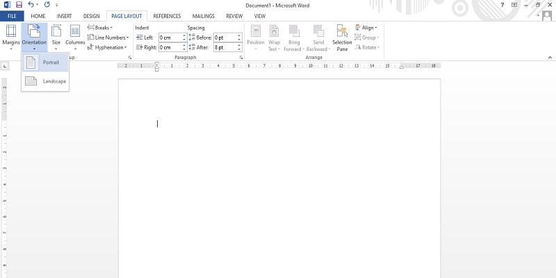 halaman word landscape