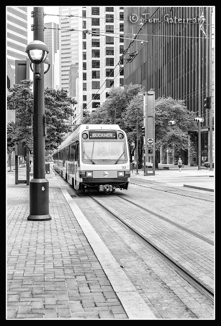 DART Green Line train on Bryan Street in Dallas. TX.