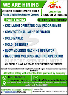 Plastic and Molds manufacturing Vacancy in Saudi Arabia