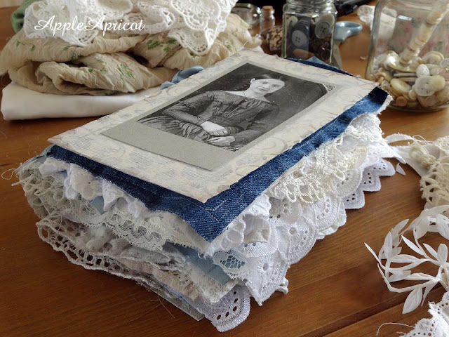 fabric and lace journal in the making by AppleApricot