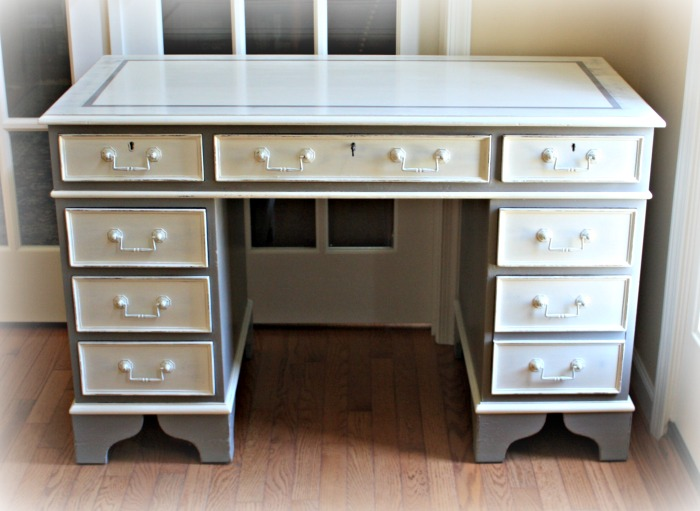 Executive desk painted French Linen Old White