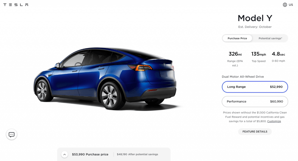Tesla mode y long range agotado