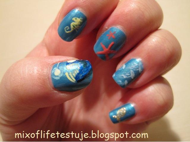 morskie stworzenia na paznokciach, zwierzęta morskie, kolorowe paznokcie,