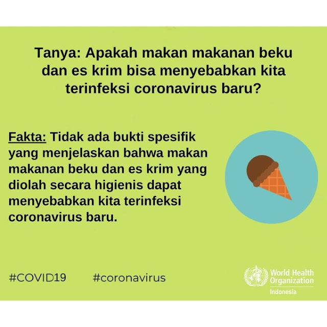 Apakah Mengonsumsi Makanan Beku dan Minum Es Krim dapat Menyebabkan Orang Terinfeksi Virus Corona COVID-19