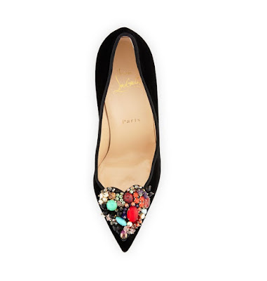 Christian Louboutin Black Velvet High Heeled Pumps with Embellishments