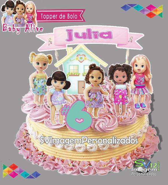 Baby Alive dicas e ideias para decoração de festa personalizados topper de bolo