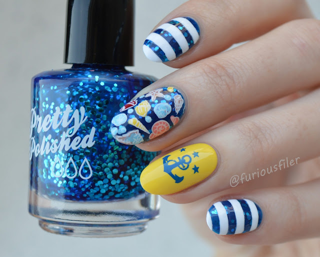 nautical seaside beach holiday sailor nail art blue