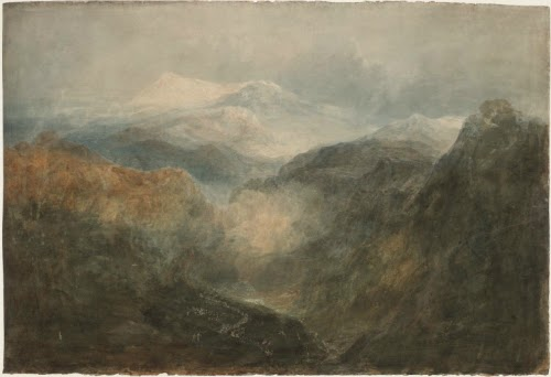 "Quadro ""looking down a deep valley towards snowdon, with an army on the march"" de joseph mallord william turner (1799-1800), direto de frases de Sun Tzu e d'A Arte da Guerra."