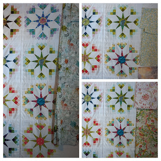 Photos of four floral prints on white backgrounds that might make a border for the Shadow Star quilt