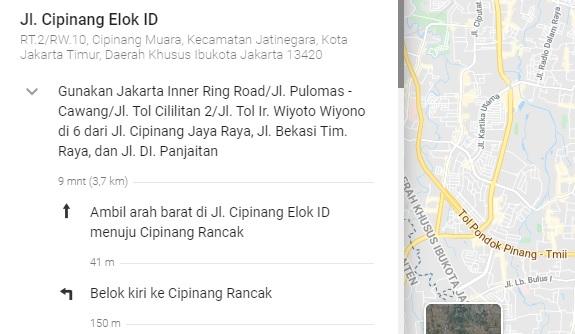 contoh petunjuk arah google maps