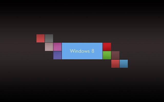 Bruin zwarte Windows 8 wallpaper met gekleurde blokjes