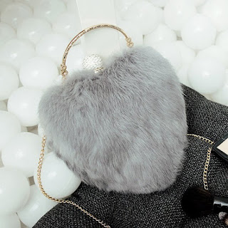 Fashion Heart Shape Metal Faux Fur Evening Bag