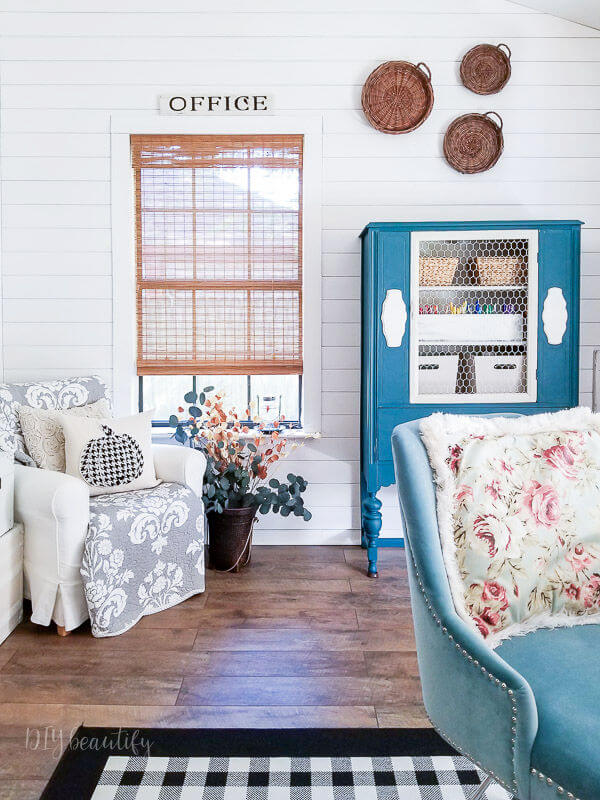 farmhouse office with bold blue
