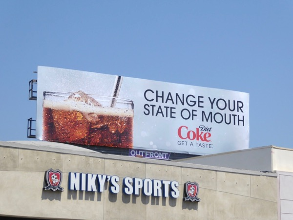 Diet Coke Change your state of mouth billboard