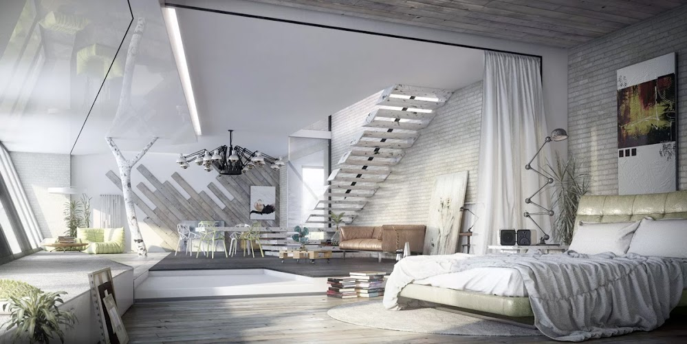 white-with-exposed-ladder-steps-modern-industrial-bedroom