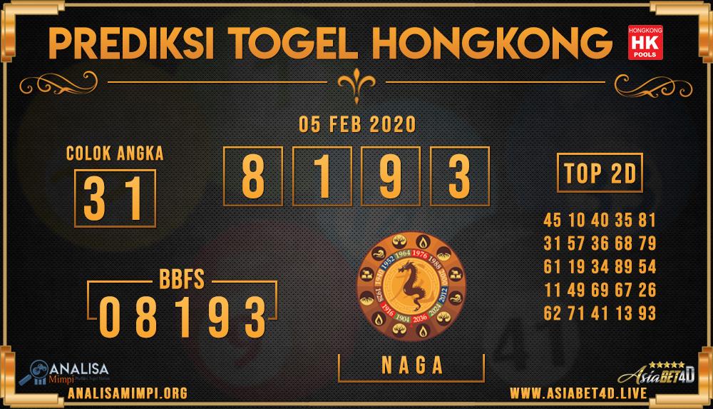 PREDIKSI TOGEL HONGKONG ASIABET4D RABU 05 FEB 2020