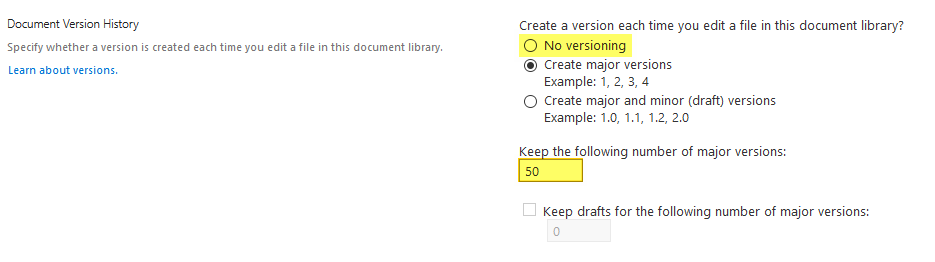 disable versioning in sharepoint online