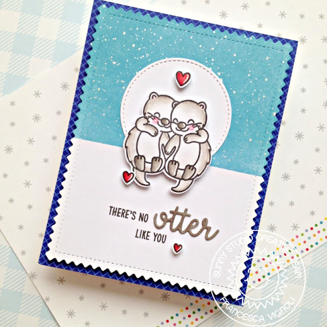 Sunny Studio: There's No Otter Like You Card by Franci (using My Otter Half Stamps, Frilly Frames Chevron Dies, Stitched Circle Dies & Gingham Jewel Tones Paper)