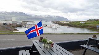 Iceland flag with a view