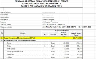 Contoh RKAS PAUD dan Kesetaraan (Paket A, B, C)