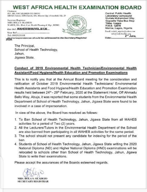 WAHEB Bans School of Health Jahun Due to Cases of Impersonation