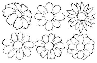 bunga kartun hitam putih