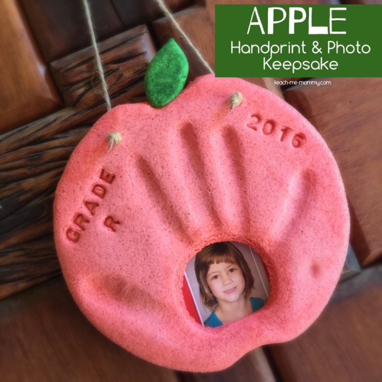 apple salt dough handprint photo keepsake