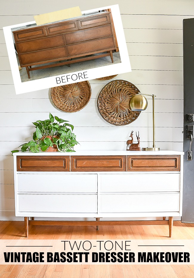 Before and after vintage Bassett dresser makeover